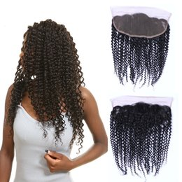 Grade 8A Brazilian Virgin Kinky Curly Human Hair Natural Color Unprocessed Curly Ear To Ear 13*4 Lace Frontal Closure Free Shipping