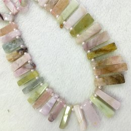 Wholesale Natural Genuine Blue Green Pink Aquamarine Beryl Morganite Slabs Slices Flat Stick Beads Fit Jewelry Necklace Bracelets quot