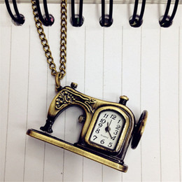 Wholesale I0 Unisex men women watch Retro Antique Bronze Alloy Sewing Machines Pendant Pocket Watch Christmas Gift