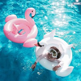 Wholesale Swan Inflatable Float Swim Ring Baby Summer Toys Swan Swimming Seat Ring Water Toys Beach Toys Colors White and Pink b1183