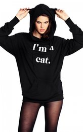 Canada Cat Hoody Sportwear Femmes Cat Ear Cool Sweatshirt JE SUIS CAT Print Harajuku Long Sleeve Tracksuit Anime Black Hooded Coat sweatshirts ears for sale Offre