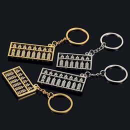 Wholesale 6 fichiers fichiers abacus métal porte clés Acier chinois or argent argent abaque porte clés pendentif chaîne S158