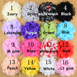 free shipping 30pcs lot 16color Shabby Lace Mesh Chiffon Flower For Baby Girls Hair Accessories Artificial Fabric Flowers For Headbands H014