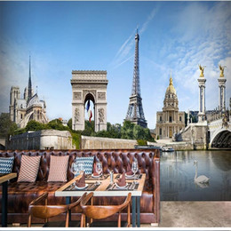 Wholesale D Stereo Custom Paris Tower Triumphal Arch Scenery Wallpaper Living Room Background Dining Room Wallpaper Mural