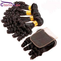 Aunty Funmi Hair Closure with 3 Bundles Human Hair Weaves Cheap Funmi Nigeria Romance Curls Malaysian Hair and Closures