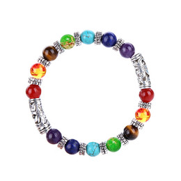 7 Chakra Healing Balance Beads Bracelet Antique Buddha Prayer Natural Stone Yoga Bracelet bangle Cuffs Women Men Jewlery Drop Shipping