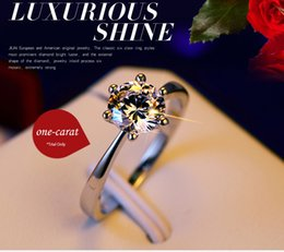 Wholesale Classic size one karat claws CZ diamond Rings for women platinum plated white gold couple rings Jewelry silver ring wedding