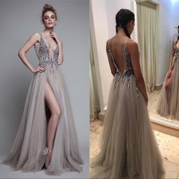 Paolo Sebastia Sexy Beads Thigh Split Prom Dresses Plunging Neckline Appliques Backless Evening Gowns Floor Length Tulle Evening Party Dress