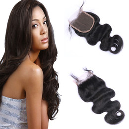 8A Brazilian Body Wave Hair extensions Human Hair Unprocessed Top Lace Closure 4*4 Hand Tied Virgin Human Hair Closures Natural Color
