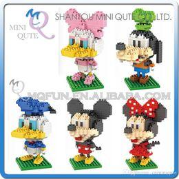 Wholesale DHL Mini Qute LNO Big Head Minnie Mickey Goofy Donald Daisy plastic building block brick model Action Figures educational toy