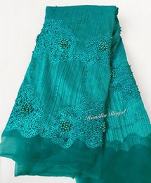 plain teal 5 yards high grade big african french lace tulle fabric Nigerian sewing cloth with lots of stones beads 6228