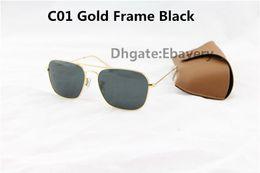 Les brunes à vendre-10pcs Mode Rectangle UV400 lunettes de soleil pour les hommes Lunettes de soleil pour femmes Lunettes de soleil en or métallique 58mm Verre lentille avec meilleur cas brun