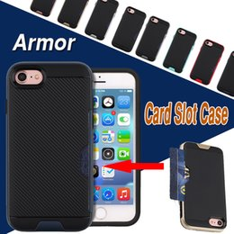 Slide Card Slot Wallet Cases Hybrid PC Soft TPU Armor Case Dual Layer Protector Cover For iPhone X 8 7 Plus 6 6S Samsung Note 8 S8 S7 Edge