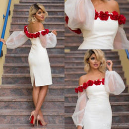 White Special Design Elegant Prom Dresses Off Shoulder Puff Sleeve Knee-Length Party Gowns With Hand Made Flowers Custom Made Formal Dresses