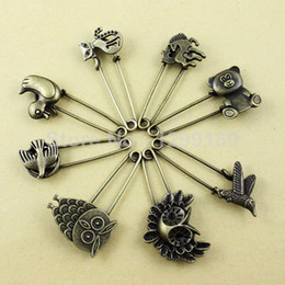 Wholesale Alloy Antique Brass Vintage Animal Brooch Safety Pins For Garment Accessories Scarf Clip pins Approx mm K01936