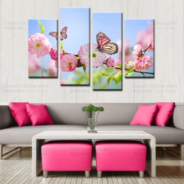 HD decorative pictures modern beautiful flower and butterfly paintings living room decor wall art 4 piece wall canvas