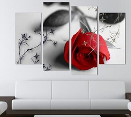 Wholesale 4 Pcs Hot Sell Red Flowers Wall Art Picture Modern Home Decoration Living Room or Bedroom Canvas Print Painting