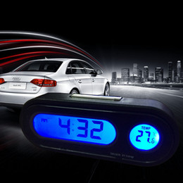 Wholesale In Car Kit Electronic Clock Thermometer LED Digital Display Car Inside Temperature Measuring Tool With Backlight Function