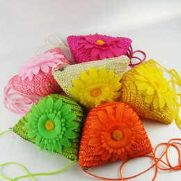 Girls Change Purse Cosmetic Bags Key Bag Kids Cute Coin Purse Sun flower Children Beach bags Girls Crossbody Bag Straw Braid C1021