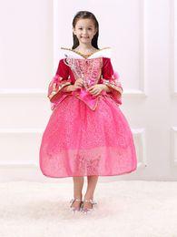 Wholesale The best Quality Princess Dress Princess Aurora Long Sleeve Dress Girls Comfort Lace Party Birthday Belle Princess Dresses Xmas Gift WX D08