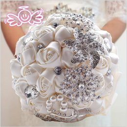 2016 beautiful Wedding Bridal Bouquet with Beaded crystal Bridal and Bridesmaid Bouquet Romantic the bride bouquet