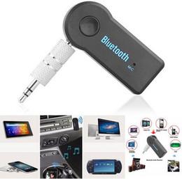 2017 mains libres universel Universal 3.5mm Bluetooth Car Kit A2DP Sans fil AUX Audio Récepteur de musique Adaptateur mains libres avec microphone pour téléphone MP3 ipad Pack de détail DHL mains libres universel sortie