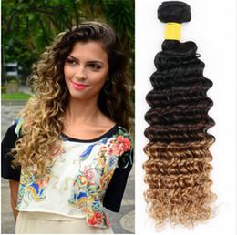 """Acheter en ligne 27 bouclés ombre-Peruvian Deep Curly Ombre Extensions de cheveux humains 10 """"-30"""" 3 Bundles Three Tone # 1B / 4/27 Honey Blonde Ombre Virgin Human Hair Weave"""