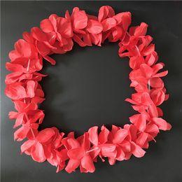 Red Hawaiian Hula Leis Festive Party Garland Necklace Flowers Wreaths Artificial Silk Wisteria Garden Hanging Flowers 100pcs lot