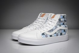 Paul Van Dorenclassic stamp pattern SK8-HI slim unisex high top canvas shoes for men's and women's white skateboarding sneakers