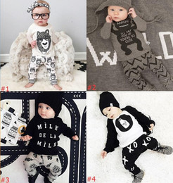 Wholesale Cute Baby Suits For Boys - 8 Design Infant Baby Clothes Set Boys Girls Cute Cartoon Kids Clothing Suit With Long Sleeve+Pants For Chrismas Gift 2pcs Cotton