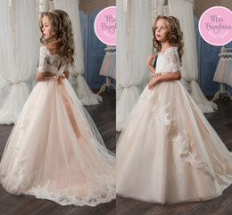 2017 New Flower Girls Dresses Half Long Sleeve Lace Appliqued A Line Floor Length Girls Pageant Dresses With Bow Sash