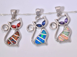 Wholesale & Retail Fashion Jewelry Fine Blue White Red Fire Opal Stone Silver Plated Pendants For Women PJ16021401