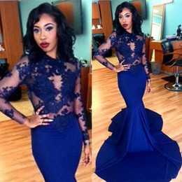 2017 Royal Blue Long Lace Evening Dresses Sheer O-neck Appliques Long Sleeves Sweep Train Satin Mermaid Prom Dresses Arabic