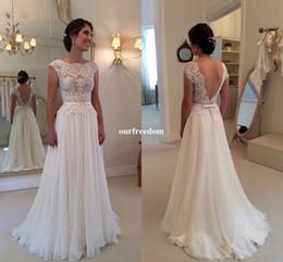 Cheap 2019 A Line Backless Lace Wedding Dresses Scoop Neck Chiffon Robe De Mariage chiffon See Through Back Beach Bohemian