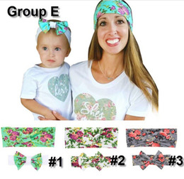 6styles Mom & Baby Rabbit Ears headband set cute Bow Headband Hair Ornaments Stretch Knot Cross Bow Headbands Hair Accessories 2PC Set
