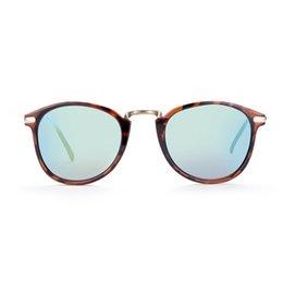 Descuento gafas de sol púrpura Gafas de sol de la tendencia de la manera para las gafas de sol polarizadas oval de los hombres Té y gris púrpura REVO UV400 con la caja DS73-1
