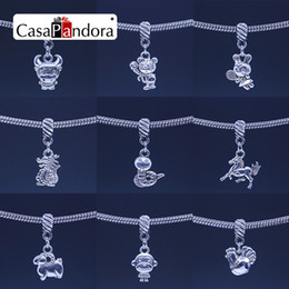 CasaPandora Silver-colored Chinese Twelve Zodiac Pendant Twelve Animal Signs Fit Bracelet Dog And Pig Charm DIY Making Pingente Berloque