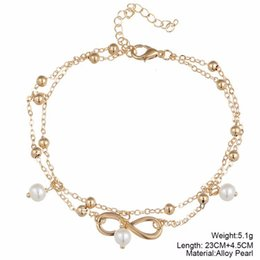 2017 fashion popular pearl of eight foot chain accessories Handmade beaded double anklets