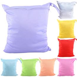Acheter en ligne Bébé tissu réutilisable couche nappy-Vente en gros-Bluelans Baby Nappy sac à couches réutilisables Wet Dry Cloth Changer fermeture à glissière étanche titulaire