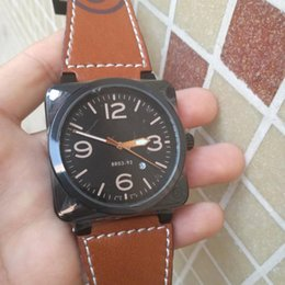 Wholesale Hot Fashion Square Wristwatch Leather Strap Automatic Mechanical Movement Watch Bell Top Luxury Business Brand Men s Watches