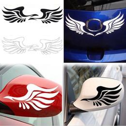 Coche espejo decorativo en Línea-El nuevo coche decorativo al por mayor de las etiquetas engomadas del coche del espejo de las alas del fuego de la personalidad del diseño al por mayor 2pcs que labra el envío libre