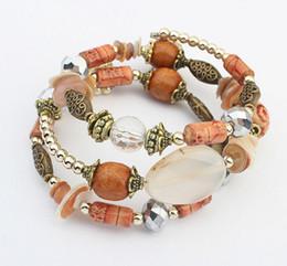 Femme Bijoux de plage 5 Couleurs Bohème Mode Perles de verre Perles en bois Bracelet artisanal Perles multicouches Bracelets échoués à partir de bracelets en bois faits à la main fabricateur
