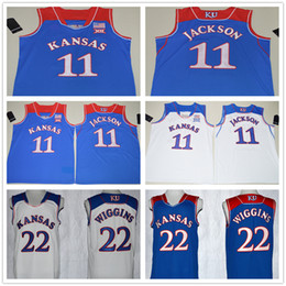 Wholesale 2017 Newest Josh Jackson Jersey Blue White Kansas Jayhawks Andrew Wiggins College Basketball Jerseys Stitched