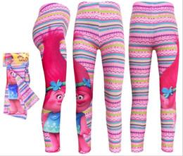 Wholesale 2017 Sweet Girls Spring Autumn TROLLS Tights Leggings Cartoon Pants Kids Slim StirpedTrousers Children Elastic Waist Printing Leggings Q0651
