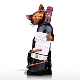 Wholesale TOOARTS Cat shaped Wine Holder Wine shelf Metal sculpture Practical sculpture Home decoration Interior decoration Crafts Home Garden A017
