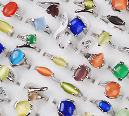 wholesale 100pcs cat eye Gemstone 925 silver rings Assorted Colors Wedding including dispaly box