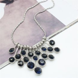Fashion Necklace Blue Rhinestone Necklaces & Pendants Silver Plated Chain Statement Necklace For Women Party Jewelry