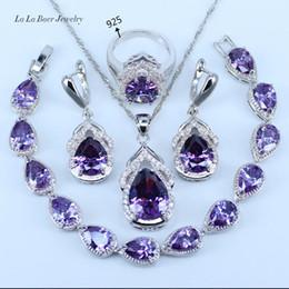 L&B Australia Crystal Water Drop silver 925 Sterling Silver Jewelry Sets For Women Bracelet Earrings Necklace Pendant Rings