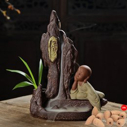 Wholesale Pottery Fairyland Buddha Monk Thinking Backflow Incense Burner Holder Aromatherapy Diffuser Air Fresheners with Cones Free Z00D835