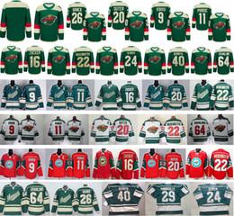 Promotion série de hockey Minnesota Wild Stadium Série 9 Mikko Koivu 11 Zach Parise 16 Jason Zucker 20 Ryan Suter 22 Nino Niederreiter 40 Devan Dubnyk Maillots de glace
